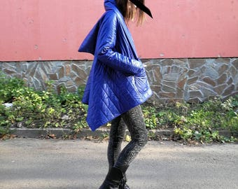 NEW Extravagant Winter Jacket / Warm Winter Blue Jacket / Loose Fit Jacket / Plus Size Jacket / Outerwear by FabraModaStudio / FAB002