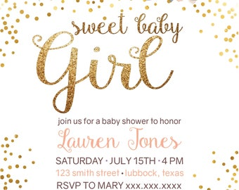 Sweet Baby Girl Shower Invitation