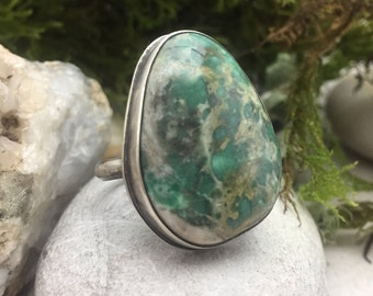 Variscite Ring, Size 9 Ring, Green Statement Ring, Sterling Silver Ring, Artisan Jewlery, Rustic, Natural, Earthy