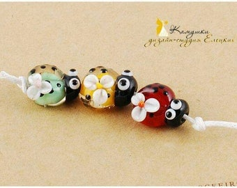 Lampwork set of 3 Ladybug beads Focal Bead Animal Glass Bug flamework Ladybird Red Yellow Green Color jewelry making craft supply artisan