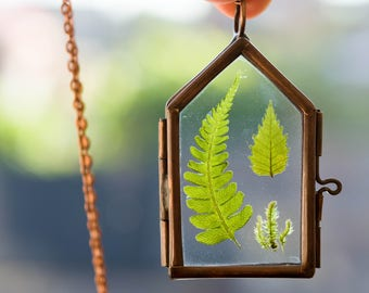 dried fern necklace fern glass locket forest necklace birch leaf locket terrarium necklace real dried fern pendant real moss necklace