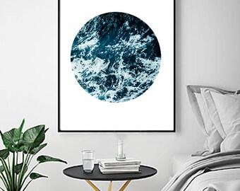 Ocean Circle Print Waves Sea Foam Beach Printable Poster Blue Wall art Water Boho Home Decor Minimalist art Scandinavian Poster Large Print