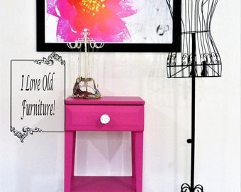 Hot Pink Antique Solid Birch Occasional Table with Storage and a Kate Spade inspired surprise!