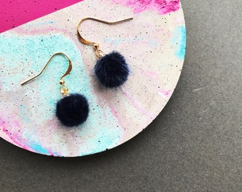 Midnight Blue Pom Pom Earrings, Mini Pom Pom Earrings, Small Pom Pom Earrings, Fluffy Earrings, Statement Earrings, Gifts For Her, Navy