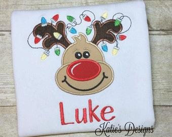 Christmas Applique Shirt, Reindeer Applique Shirt, Boys Christmas, Boy Reindeer, Christmas shirt, Personalized, Monogrammed, Boys shirt, Boy