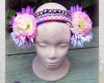 Flowers Headpiece, ATS Costume Headdress, Tribal Headband, Tribal Belly Dance Headdress, Gypsy Headdress Flowers, Tribal fusion Headdress