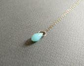 Mermaid tear. Dainty aquamarine necklace.