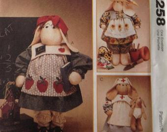 Professional bunnies, teacher bunny, gardener bunny, nurse bunny with baby bunny, vintage bunny pattern, 27 inch bunnies, 10 inch baby bunny