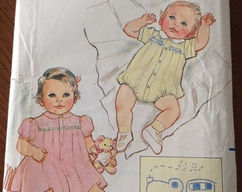 Baby Romper, Baby Girl Dress and Panties, embroidered baby dress, embroidered baby Romper, Butterick vintage pattern, vintage baby dress,