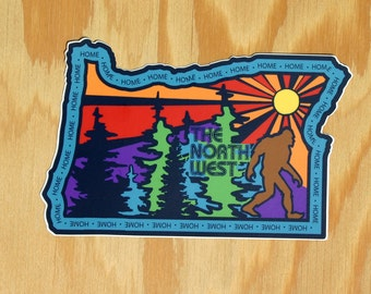 Oregon Sasquatch Sticker -- Oregon Home Decal -- Oregon Bigfoot Sticker -- Northwest -- NW Home -- OR State Sticker -- OR Home Decal