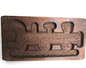 Wooden cookie mold, Dutch Folk Art Train Springerle. #6ABG64K2