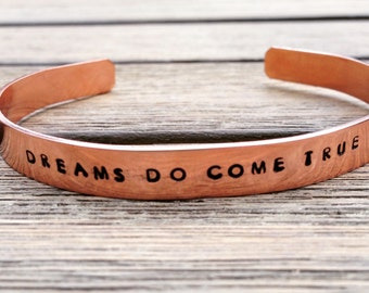 Inspirational Bracelet, Hand Stamped Copper Bracelet, Personalized bracelets for women, stamped copper cuff bracelet, bracelet with words