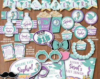 SELF EDITING Little Mermaid Baby Shower Decorations Printable Under The Sea Baby  Shower Decors