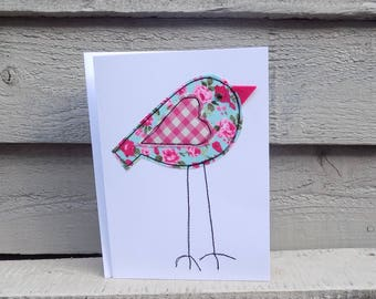 Handmade Applique Free Motion Embroidery Greetings Card Quirky Long Legged Bird Teal Fabric with Pink Roses and Gingham Heart Blank inside