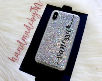 Glitter Phone case iPhone 7 case iPhone 7 Plus case iPhone 6S case iPhone 6S Plus case iPhone 8 case iPhone 8 Plus case iPhone x case