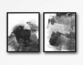 Minimalist Art, Set Of Two Art Prints, Gray Black Modern Art Diptych Painting, Contemporary Design 2 Piece Set, Graphic Urban Art Wall Decor