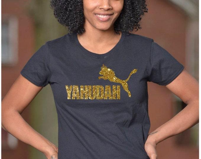Yahudah Jump T-Shirt Gold Glitter on BLACK Women's Cut T-Shirt (Request Custom Glitter Color)