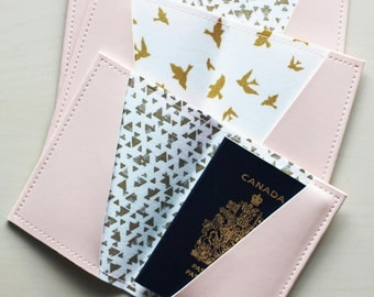 Pink passport holder, passport case, vinyl passport holder with cotton liner, faux leather passport holder