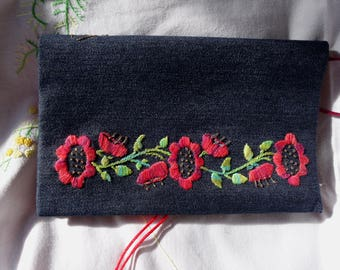 Embroidered book cover on denim Japanese inspired hand