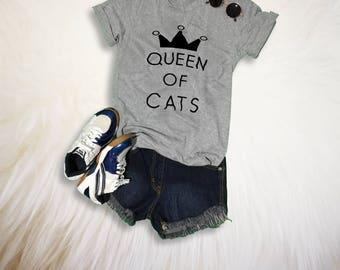 Funny Cat Shirts for Womens Cat Shirt Queen of Cat TShirt Grey Fashion Cat Lover Shirt Gift for her Cute Cat T-Shirt