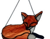 Fox Stained Glass Sun Catcher, Sly Fox, Laying Fox, Red Fox, Black Glass, White, Brown, Amber, Gift Wrapping Available