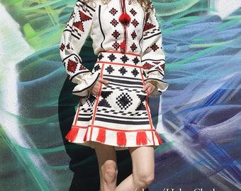 Women embroidered skirt vyshyvanka blouse Ukrainian vyshyvanka set Folk traditional clothes geometric pattern. Mini short women skirt RTY