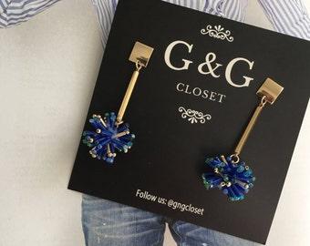 Gold Drop Earrings, Dangle Earrings, Delicate Pendant Earrings, Blue Minimalist Earrings, Gift For Her, Everyday Earrings,18K Gold Earrings,
