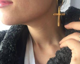 Cross Earrings, Gold Cross Earrings, Gold Earrings, Cross Charm Earrings, Women's Jewelry, Made in Greece by Christina Christi Jewels.