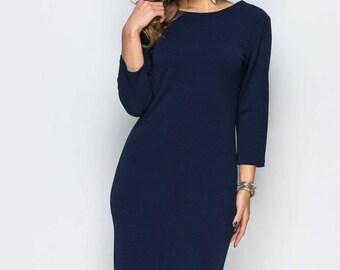 Dark Blue Cocktail Dress Maxi dress women's Prom Dress long sleeve Party dress Dark Blue Evening dress Holiday dress Floor length dress