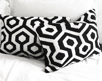Cross Stitched Cushion Cover - Black & White
