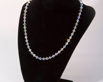 Swarovski® Bicone Crystal Necklace, Handmade, Gold or Silver Heshi Beads, Wedding Jewelry, Special Occasion Jewelry