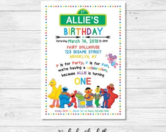 Sesame Street Birthday Invitation, Sesame Street Party Invite, One Year Old Invitation, Digital Invitation, *DIGITAL FILE*