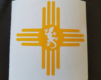 New Mexico sun flag - Zia Sun Decal w/gecko- tribal, native american, perm vinyl - perfect for laptops, car windows, Yeti & Rtic cups, etc.