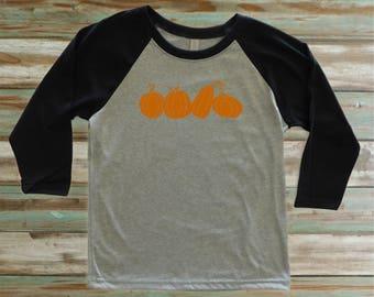Kids pumpkin patch t-shirt, pumpkin shirt, three quarter sleeve baseball raglan, fall t-shirt, autumn shirt, Halloween t-shirt, Thanksgiving