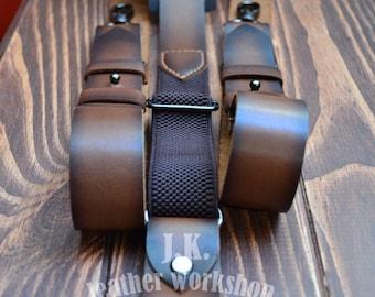 Wedding suspenders Personalized Men's suspenders Mens Leather suspenders Brown suspenders groomsman gift handmade suspenders wedding gift