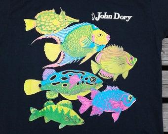 Neon Fish Shirt - Vintage Tropical Fish Tshirt - 90s Fish Shirt - Dory Fish - Vintage Fish Tshirt Neon Tshirt - Full Print Shirt Neon Shirt