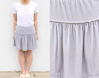 Silver Frilly Velvet Skort Velour Skirt