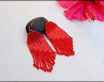 Red Earrings,Red fringe Earrings,Beaded fringe Earrings,Long Earrings,Gift Ideas,Seed bead Earrings,Gift for her,Nickel free,Apparel