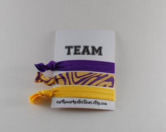 Team Hairties   Purple Gold Tiger   Set of 3 FOE Hair ties   College University Sports Hairbands   No Crease Football Ponytail holders