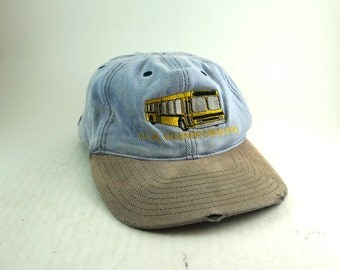 Vtg JFK Transportation Denim and Two Toned Snapback Dad Hat // Embroidered Bus Low Profile Baseball Cap