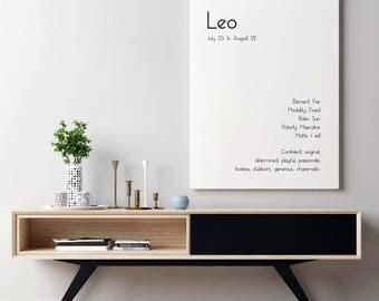 Leo Star Sign Leo Zodiac Leo Art Print Zodiac Art Print Zodiac Signs Room Decor Art Leo Poster Typography Print Typography Wall Art Poster