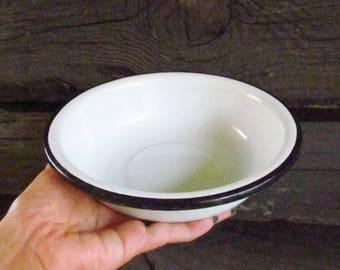 Vintage Enamel Bowl White Bowl Soviet Bowl Vintage Bowl enamelware bowl Old Enamel Bowl Old Enamel Kitchenware Russian Kitchen Decor retro