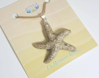 """Puerto Rico Sand. """"Starfish"""" necklace in sand."""