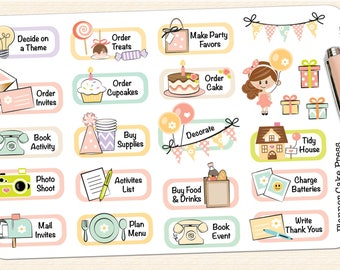 Birthday Party Planner Stickers | Birthday Party Stickers | Birthday To Do List Task List Birthday Girl Stickers Fits ECLP Erin Condren More