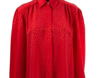 Vintage 1980's Bright Red Silky Polyester Secretary Blouse