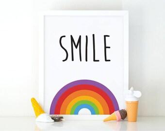 Smile Raibow, Rainbow Wall Art, Nursery Print, Colorful Art, kids Decor, Nursery wall Art, Kids Room, Motivational quote, Digital Download