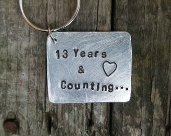 13 Wedding Anniversary Gifts Gift Silver Keyrings Keychain Husband To Wife Thirteenth Jewellery Years Married