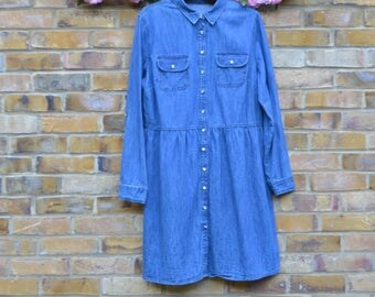 Long Sleeved Button Down Denim Dress