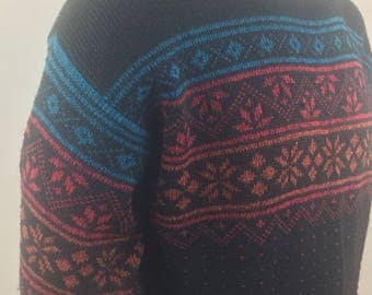 Vintage Garland Black Pullover Sweater with Red, Burnt Orange, and Teal Snowflake Design/New with Tags-Dead Stock/Size XL