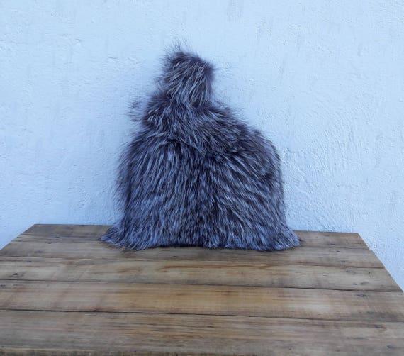 REAL SILVER fOX fUR SAC bAG fULL SkIN / Fox fur Handbag, Womens Bag, Leather bag, Shoulder Bag Women, Tote Bag, Gift For Her, Handmade